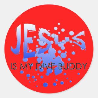 JESUS DIVE BUDDY CLASSIC ROUND STICKER