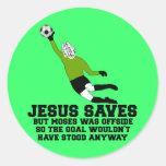 Jesús divertido ahorra pegatina redonda