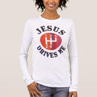 Jesus Drives Me women's Christain long sleeve tee