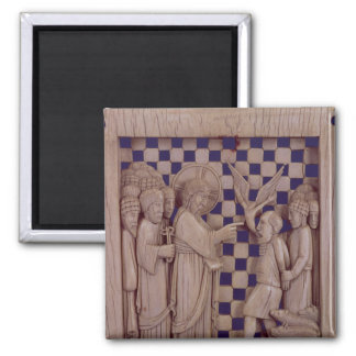 Jesus driving out the unclean spirit, relief 2 inch square magnet