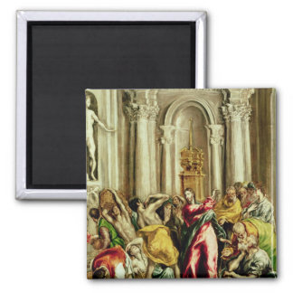 Jesus Driving the Merchants from the Temple 2 Inch Square Magnet