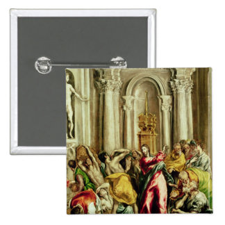 Jesus Driving the Merchants from the Temple Pinback Button