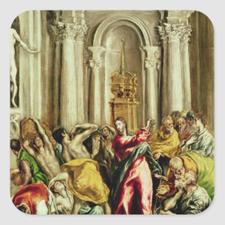 Jesus Driving the Merchants from the Temple Square Sticker