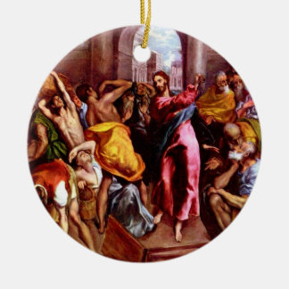 Jesus drove money changers out of the Temple Ornam Ceramic Ornament