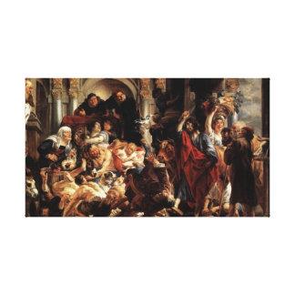 Jesus drove money changers out the temple canvas print