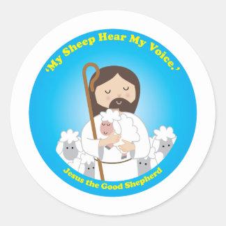 Jesús el buen pastor pegatina redonda