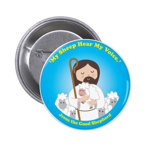 Jesús el buen pastor pin redondo de 2 pulgadas