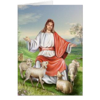 Jesús el buen pastor tarjeta de felicitación