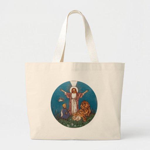 Jesús el león y el cordero bolsa tela grande