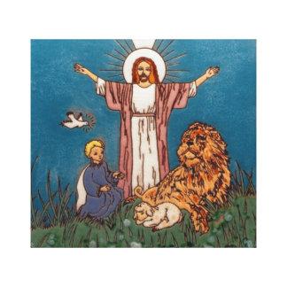 Jesús el león y el cordero lona envuelta para galerías
