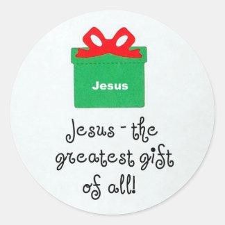 ¡Jesús, el regalo más grande de todos! Pegatina Redonda
