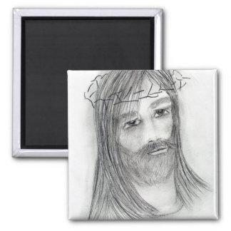 Jesús en agonía imán cuadrado