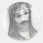 Jesús en agonía pegatina redonda