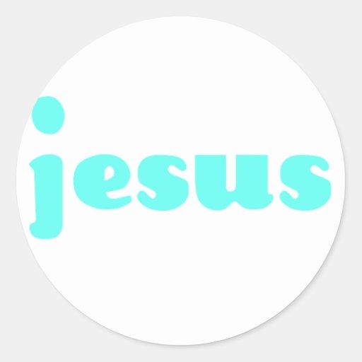 Jesús en azul pegatina redonda
