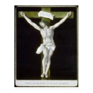 Jesús en cruz verde postal