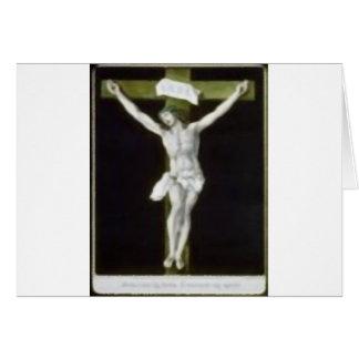 Jesús en cruz verde tarjeta de felicitación