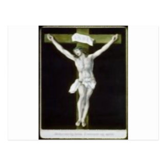 Jesús en cruz verde tarjeta postal
