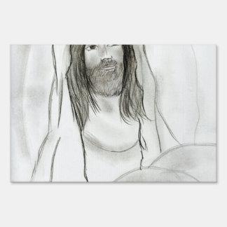 Jesús en cueva letrero