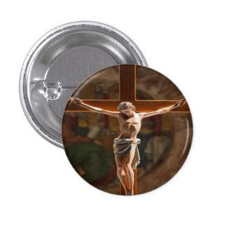 Jesús en el botón cruzado pin redondo de 1 pulgada