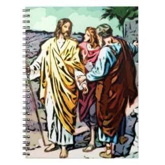 Jesús en el camino a Emmaus Spiral Notebook