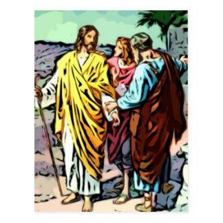 Jesús en el camino a Emmaus Postal
