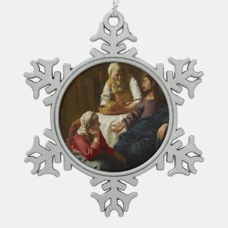 Jesús en el hogar de Maria y de Martha Adorno De Peltre En Forma De Copo De Nieve