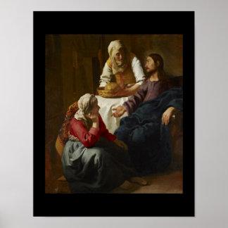Jesús en el hogar de Maria y de Martha Póster