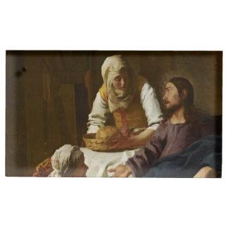 Jesús en el hogar de Maria y de Martha Soportes Para Tarjetas De Mesa
