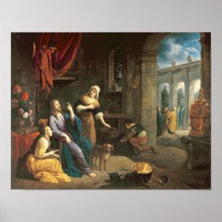 Jesús en el hogar de Martha y de Maria Posters