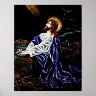 Jesús en el jardín de Gethsemane Poster