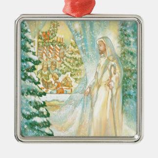 Jesús en el navidad que mira con el velo de la adorno cuadrado plateado