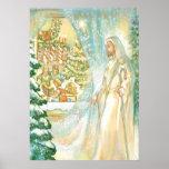 Jesús en el navidad que mira con el velo de la nie impresiones