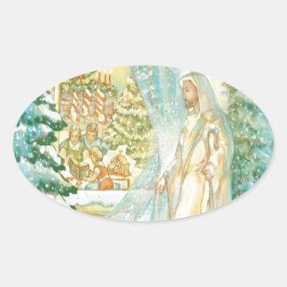 Jesús en el navidad que mira con el velo de la pegatina ovalada
