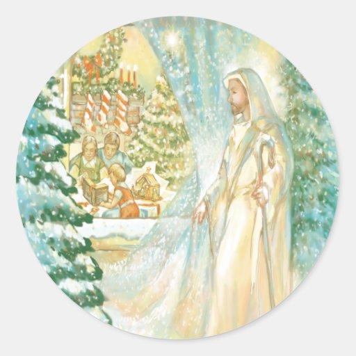 Jesús en el navidad que mira con el velo de la pegatinas redondas