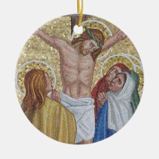 Jesús en el ornamento religioso del arte del adorno redondo de cerámica