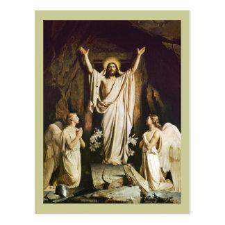 Jesús en la abertura de la tumba postal