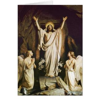 Jesús en la abertura de la tumba tarjeta de felicitación