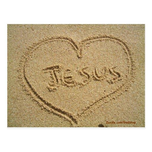 Jesús en la arena postales