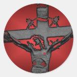 Jesús en la cruz 4c etiqueta