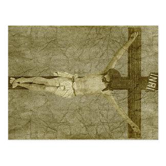 Jesús en la cruz postal