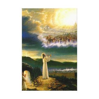 Jesús en la lona envuelta puerta del cielo impresión en lona estirada