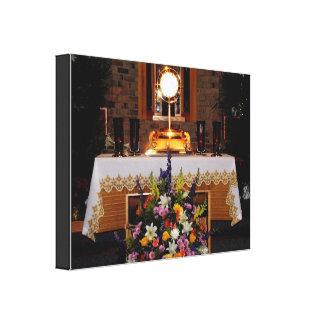 Jesús en la lona envuelta sacramento bendecida impresion en lona