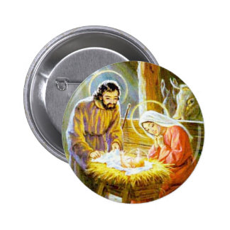 Jesús en la natividad del navidad del pesebre pin redondo de 2 pulgadas