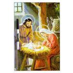 Jesús en la natividad del navidad del pesebre tablero blanco