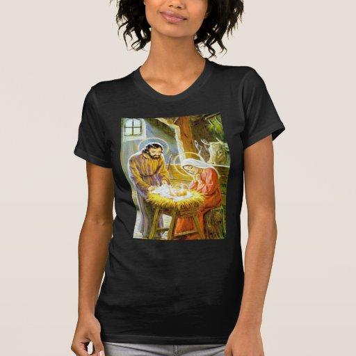 Jesús en la natividad del navidad del pesebre camisetas