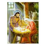 Jesús en la natividad del navidad del pesebre tarjeta postal