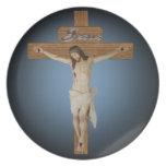 Jesús en la placa cruzada plato de cena