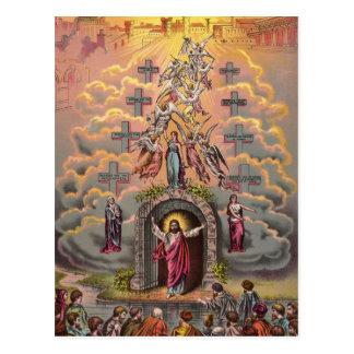 Jesús en la puerta del cielo, cristiano del tarjetas postales