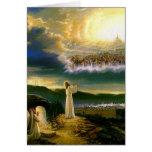 Jesús en la tarjeta de felicitación de la puerta d