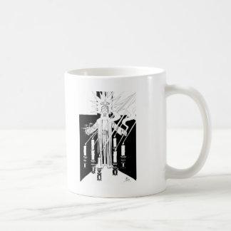 Jesús en medio de las siete palmatorias taza básica blanca
